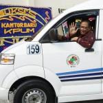 Menteri Koperasi dan UKM Puspayoga tiba di acara peresmian (Foto:maritim/dok/herbert))