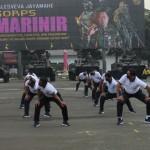 Berbagai gerakan olah badan atau raga unttuk ksemaptaan prajurit (Foto:maritim/henry)